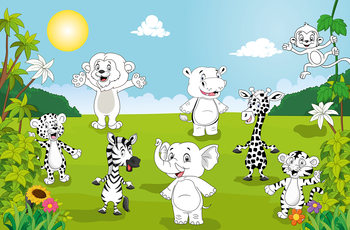 Fotomurale Happy Animals - COLOR IT YOURSELF