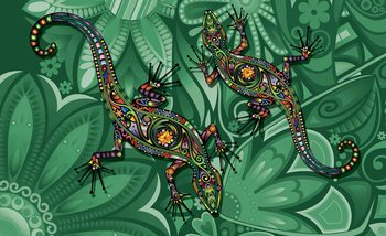 Fotomurale Lizards Flowers Abstract Colours