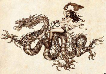 Fotomurale Tatuaje de dragón