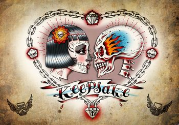 Fotomurale Tatuaje del corazón del cráneo