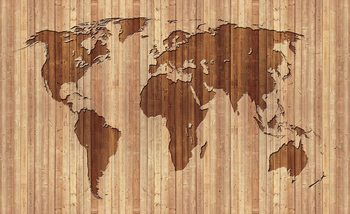 Fotomurale World Map Wood