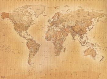 Antik Världskarta - Världskarta i antik stil Fototapet