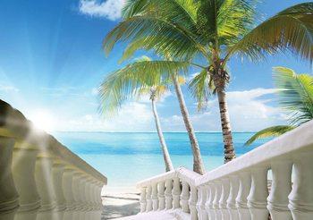 Beach Tropical Sea Palms Fototapet