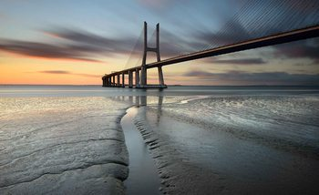 City Bridge Beach Sun Portugal Sunset Fototapet