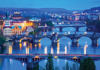 City Prague River Bridges Fototapet