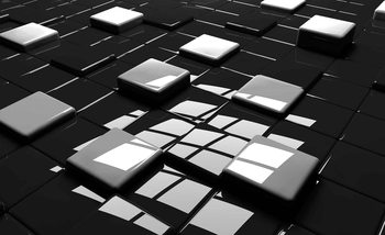 Modern Abstract Squares Black White Fototapet