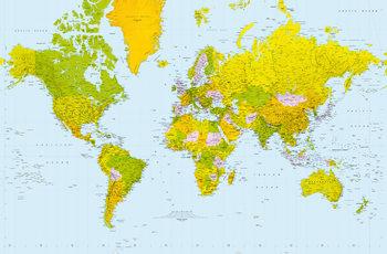 Politisk Världskarta Fototapet