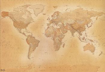 Världskarta - Old map Vinyl väggmålningar