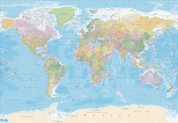 Världskarta - Political Vinyl väggmålningar