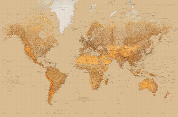 World Map - Antique Style Fototapet