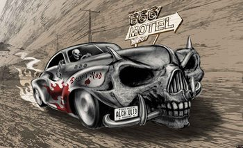 Alchemy Death Hot Rod Car Skull Tapéta, Fotótapéta