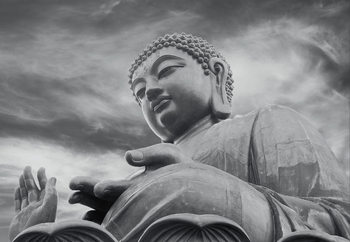 Buddha - Black and white Fali tapéta