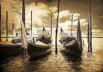City Venice Gondolas Boats Sepia Tapéta, Fotótapéta