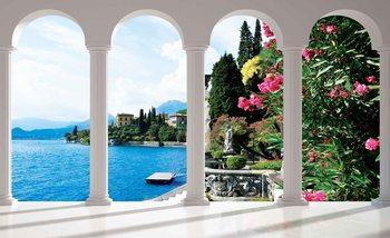 Lake Como Italy Arches Fali tapéta