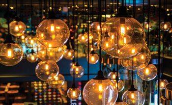 Light Bulbs Vintage Retro Tapéta, Fotótapéta