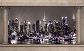 New York City Skyline Window View Tapéta, Fotótapéta