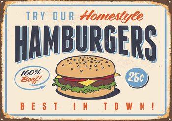Retro Poster Hamburgers Fali tapéta