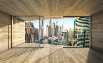 Window Dubai City Skyline Marina Fali tapéta