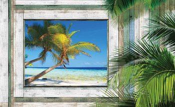 Ausblick Fenster Tropischen Strand Fototapete