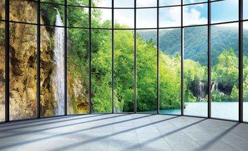 Ausblick See Wasserfall Fototapete