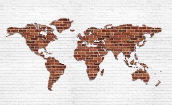 Backsteinmauer Weltkarte Fototapete