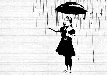 Banksy Graffiti-Backsteinmauer Fototapete