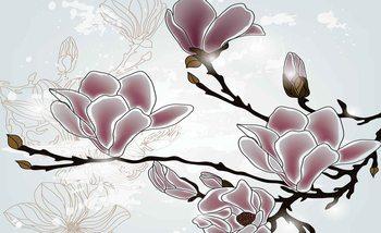 Blumen Magnolien Zweig Fototapete
