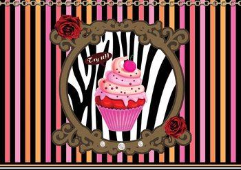 Cupcake Streifen Rosen Muster Fototapete