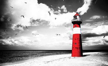 Leuchtturm Meer Möwen Natur  Fototapete