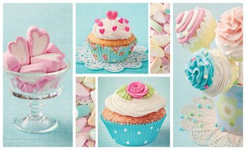 Süßigkeiten Marshmallows Cupcakes Fototapete