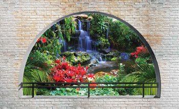 Wasserfall Wald Ausblick Fenster Fototapete