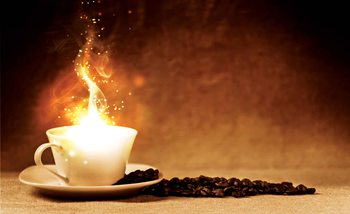 Coffee Cafe Fire Fototapet