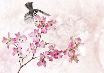 Flowers Bird Fototapet