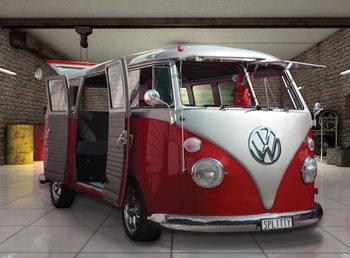 Volkswagen - Red camper van Fototapet