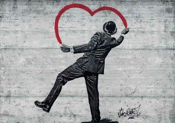 Fototapeta Banksy graffiti - betonová zeď