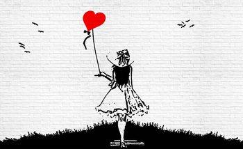 Ceglana ściana - Dziewczynka z czerwonym balonem Fototapeta