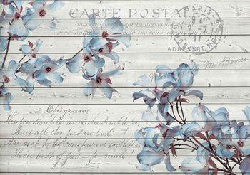 Kwiaty Drewno Wzór Vintage Fototapeta