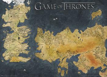 Hra o Trůny (Game of Thrones) - Westeros and Essos Antique Map - Metalický plakát