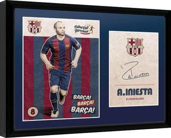 Barcelona - Iniesta Vintage 16/17 indrammet plakat