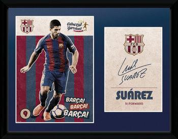 Barcelona - Suarez Vintage 16/17 ingelijste poster met glas