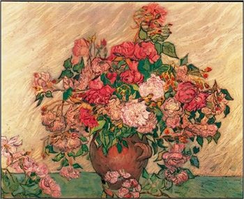 Lámina  Vase with Pink Roses, 1890