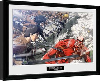L'attacco dei giganti - Fight Scene Poster Incorniciato
