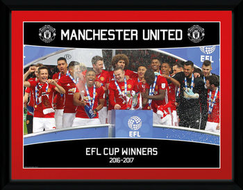 Manchester United - EFL Cup Winners 16/17 Poster enmarcado