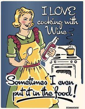 Metallschild Cooking with Wine