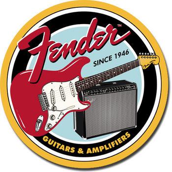 Metallschild FENDER - Round G&A