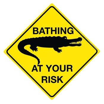Metalowa tabliczka CROC - Bathing at your risk