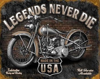 Metalowa tabliczka LEGENDS - never die