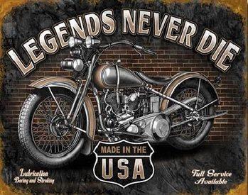 Metalowa tabliczka LEGENDS - never die