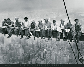 New York - men on girder Mini plakat