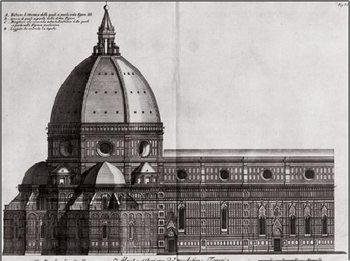 Reprodukce Boční pohled na Santa Maria del Fiore, katedrály v Benátkách